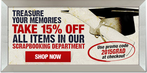 Take an extra 15% off scrapbooking department