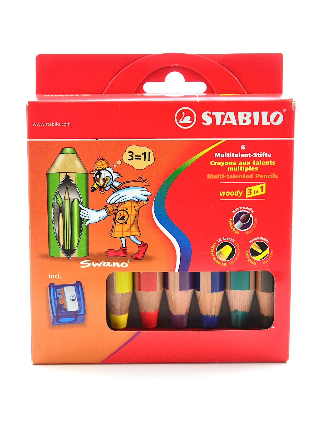 Woody 3 in 1 Pencil set of 6 with Sharpener