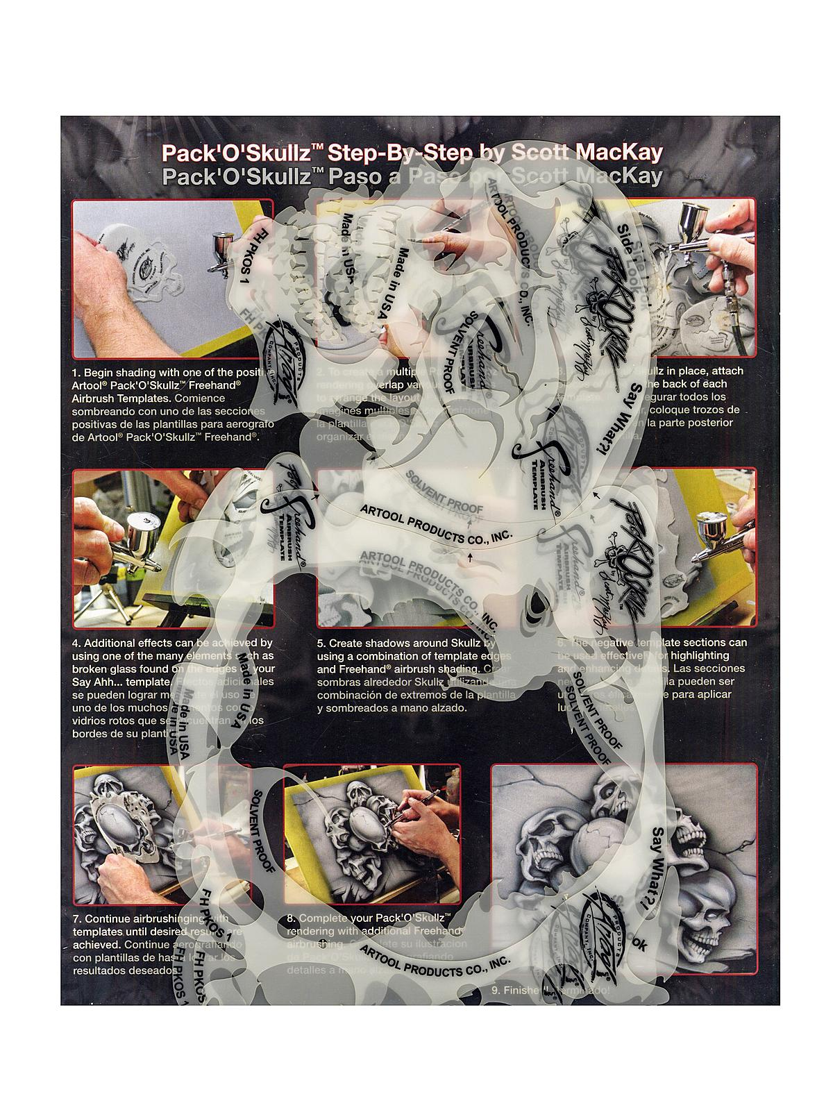 Pack of Skulls Freehand Airbrush Templates