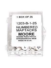 Numbered Map Tacks