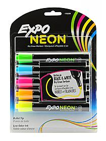 Neon Bullet Tip Dry Eraser Marker Sets orange, pink, yellow pack of 3 80001