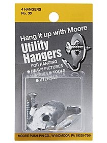 Household Hardware Utility Hanger with Screw 4 pack