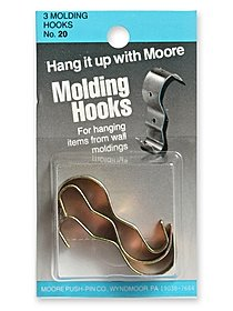 Household Hardware Molding Hook Antique Brass 3 pack