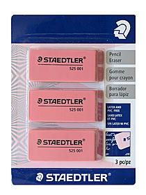 Pink Beveled Eraser pack of 3