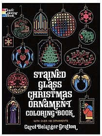 Christmas Ornament Stained Glass-Coloring Book
