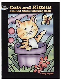Cats and Kittens Stained Glass Coloring Book