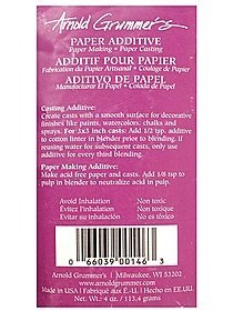 Make acid free paper with this easy-to-use additive. The powder neutralizes the acid in the pulp. It-s also great for making casts with a smooth surface for decorative finishes like paint, watercolor, chalk, and more.The additive is non-toxic. Each bag contains 4 oz. of additive.