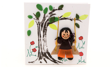 Make your own multimedia greeting card craft idea misterart first glue the swing on to the cards cover next glue our gal on to the cover so that she appears to be sitting on the floating swing m4hsunfo