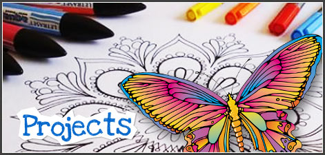 Projects and Free Coloring Book Pages