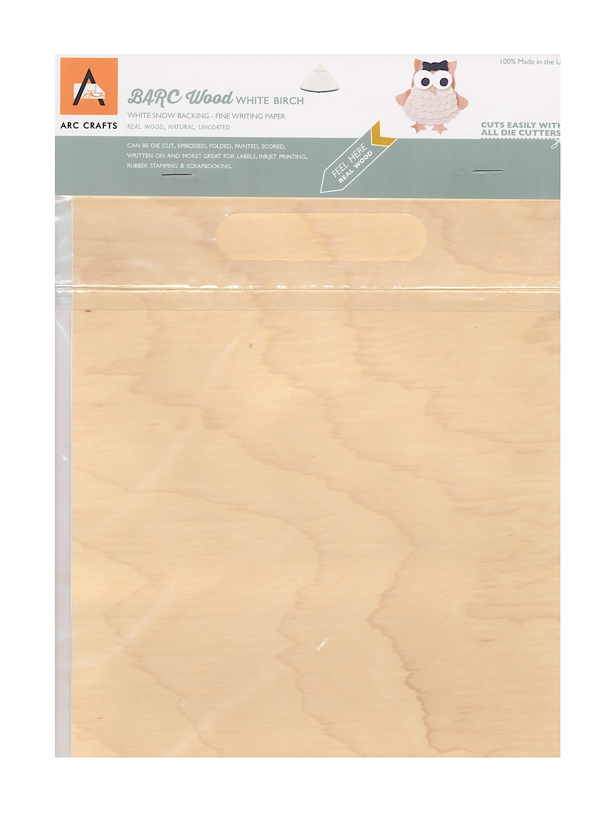 Real Wood Paper Sheets White Birch 8 1 2 In. X 11 In. Adhesive Backing