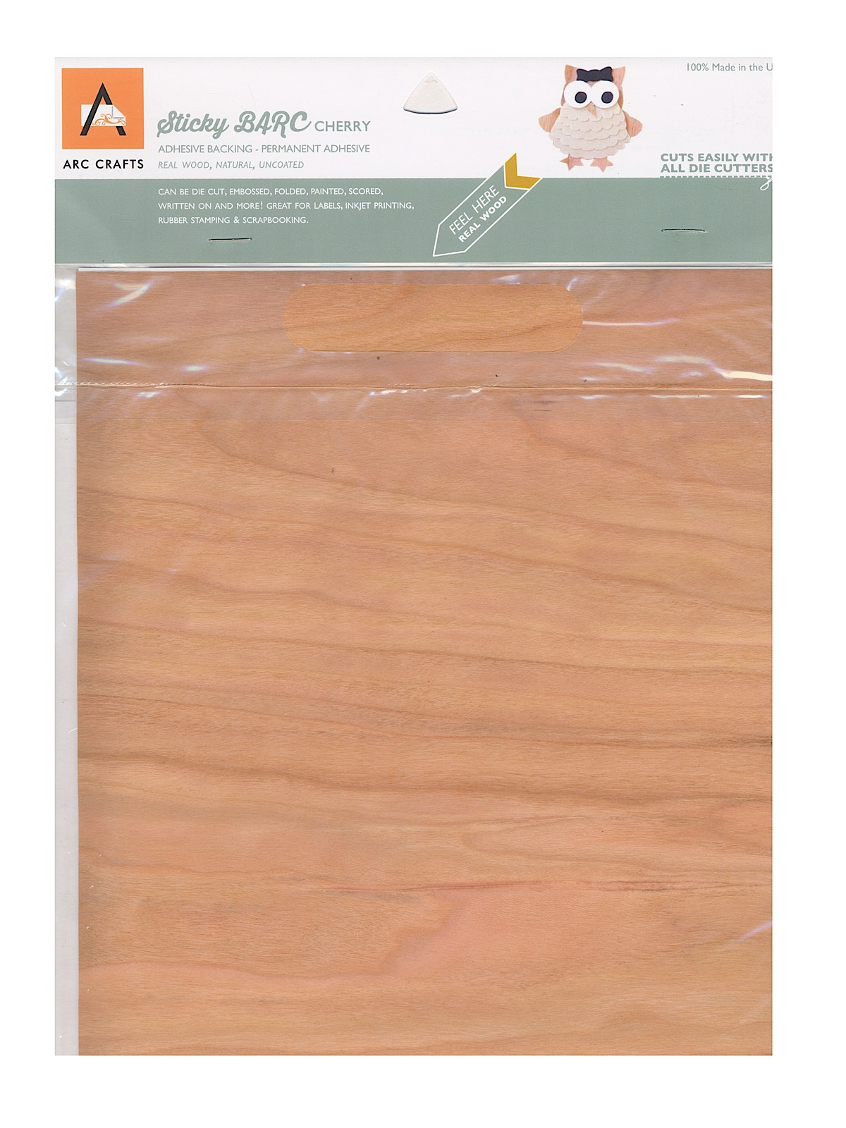 Real Wood Paper Sheets Cherry 8 1 2 In. X 11 In. Adhesive Backing