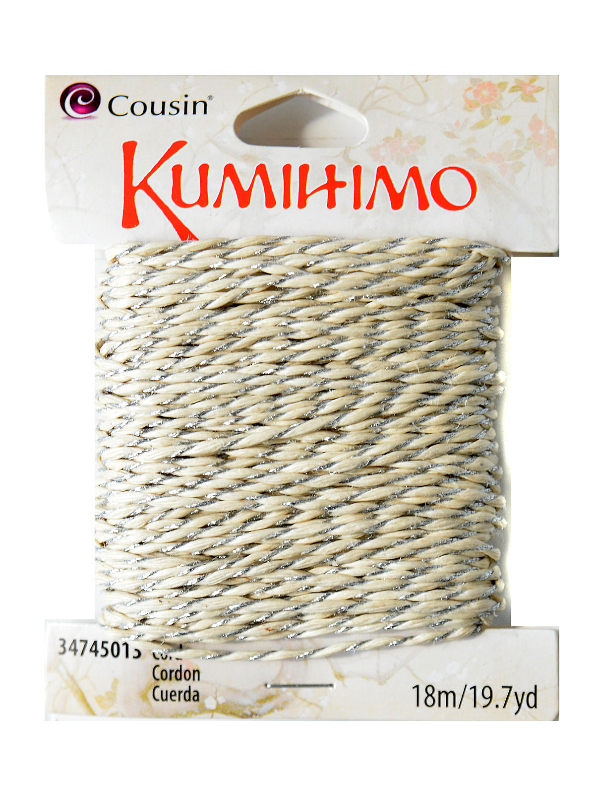Kumihimo Cord 19.7 Yds. White With Silver Twist