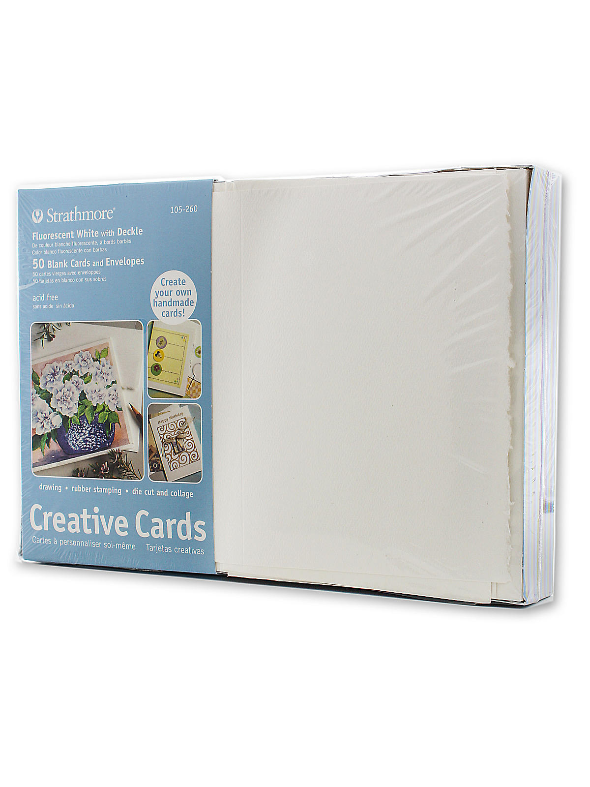 Blank Greeting Cards With Envelopes Flourescent White Same Deckle Pack Of 50