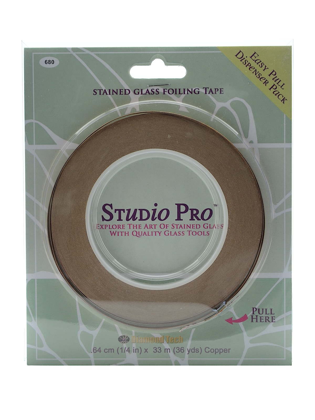 PACK OF 2 Diamond Tech Studio Line Stained Glass Foil silver lined copper 7//32 in.