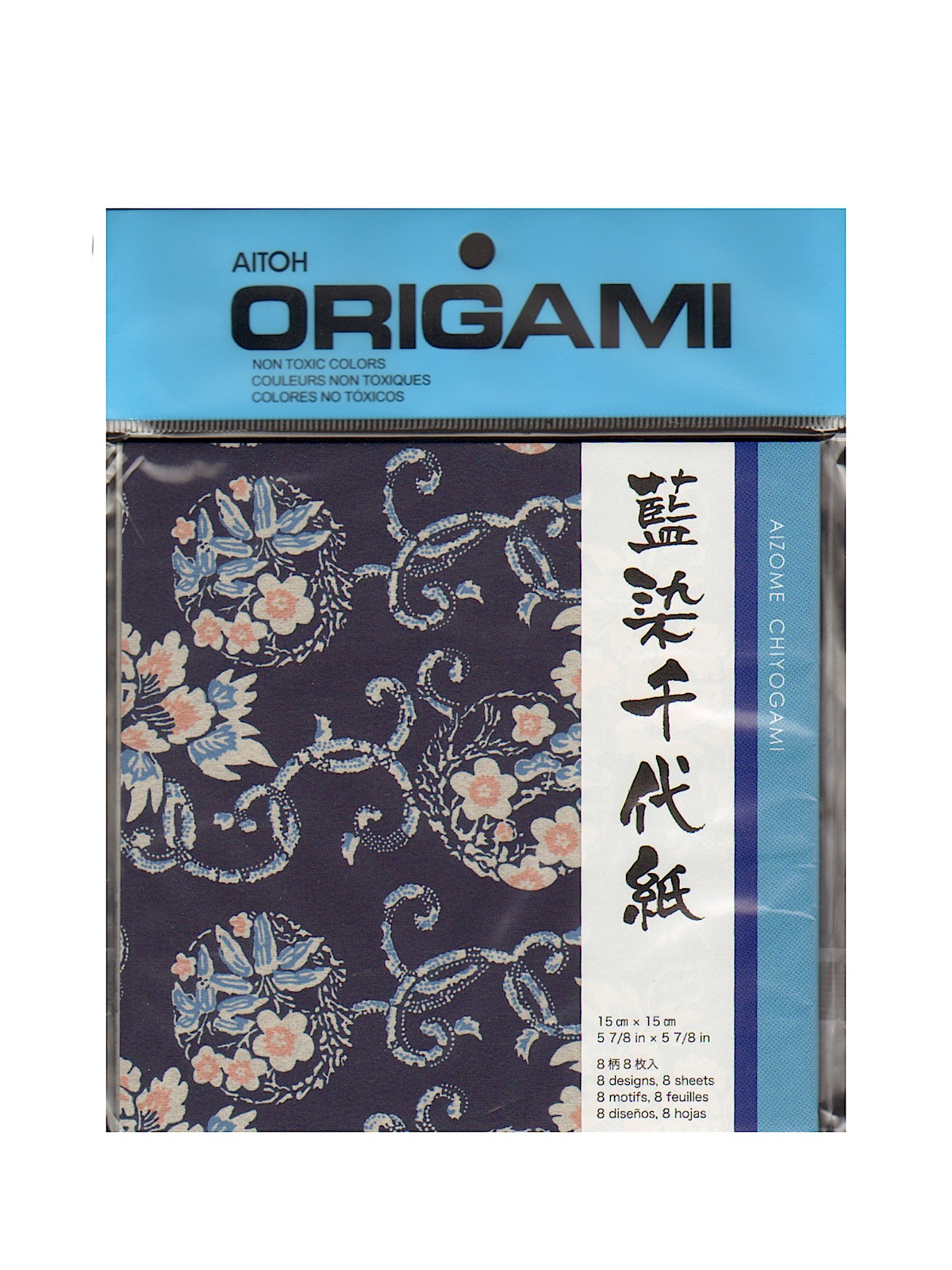 Origami Paper 6 In. X 6 In. Aizome Chiyogami 8 Sheets