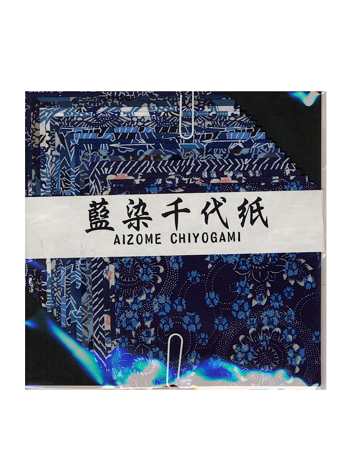 Origami Paper 4 In. X 4 In. Aizome Chiyogami 24 Sheets