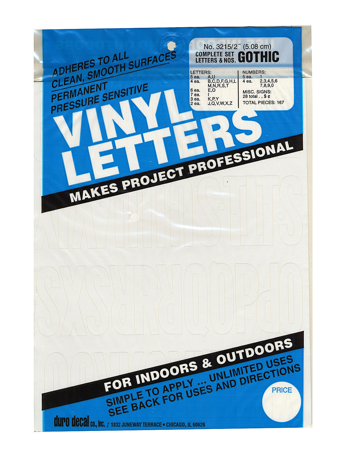 """Permanent Adhesive Vinyl Letters /& Numbers 2/"""" 167//Pkg-Silver"""
