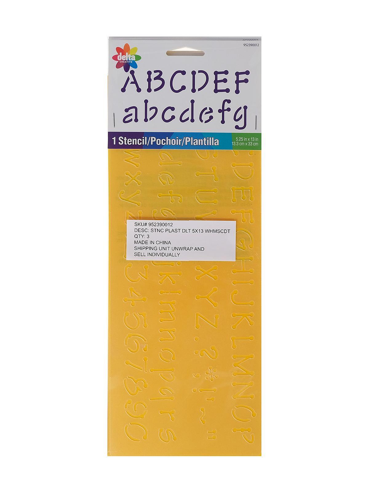 952390012 Whimsical Dot Alphabet Delta Creative Stencil 5-1//4 by 13-Inch