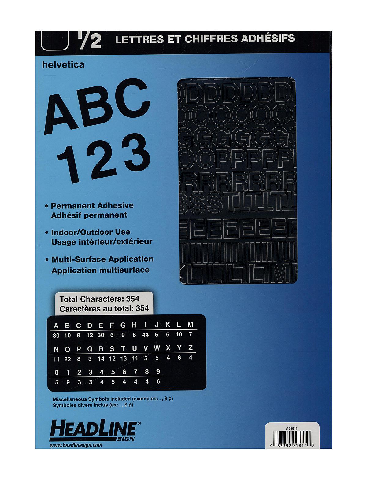 HeadLine Black Vinyl Stick On Letters or Numbers   MisterArt.com