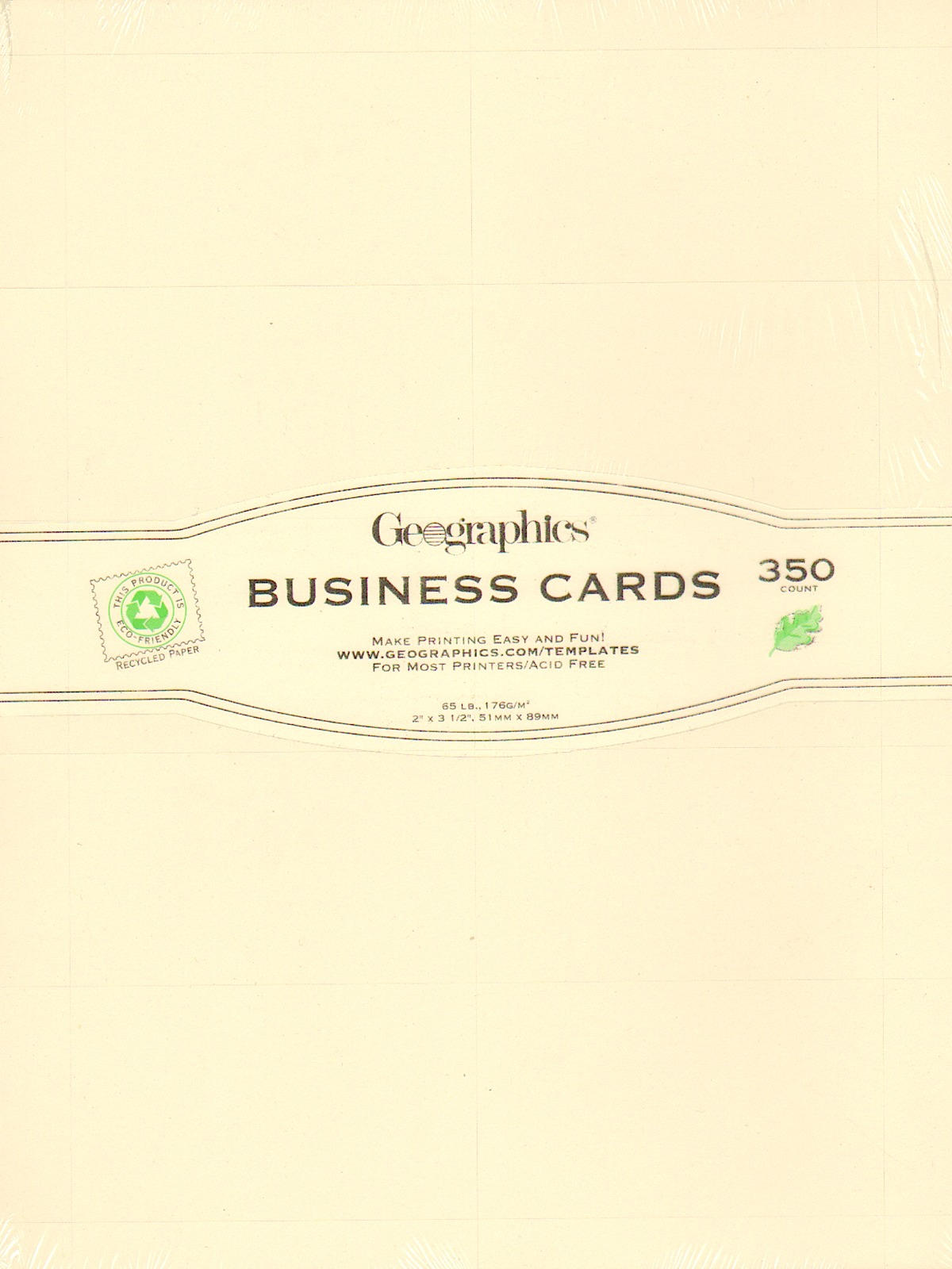 Geographics geopaper misterart geopaper business cards plain ivory pack of 350 wajeb Images