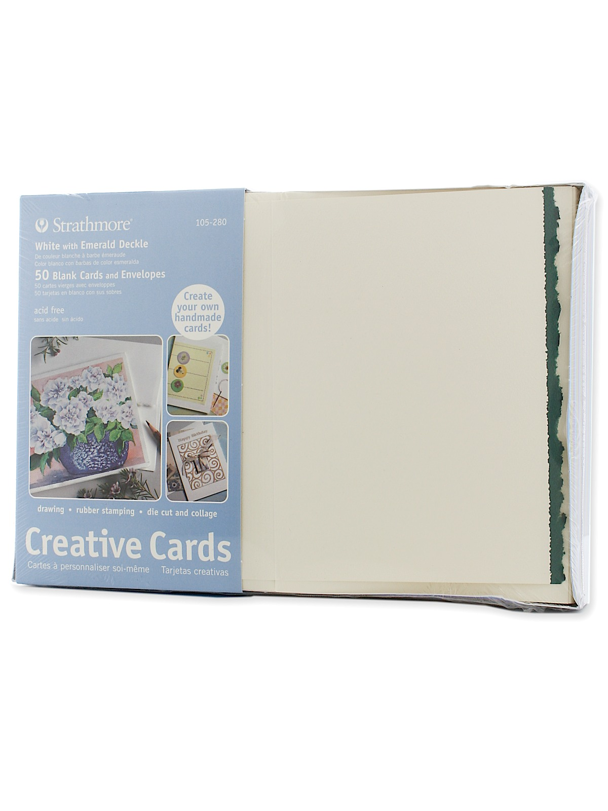 Strathmore blank greeting cards with envelopes misterart blank greeting cards with envelopes white with green deckle pack of 50 m4hsunfo