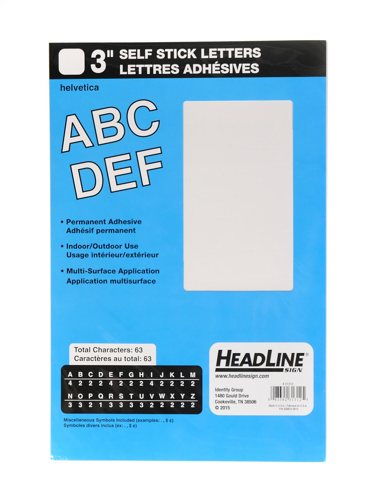 white vinyl stick on letters or numbers 3 in helvetica capitals