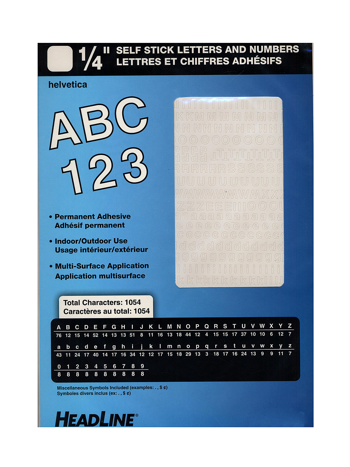 white vinyl stick on letters or numbers 14 in helvetica capitals and