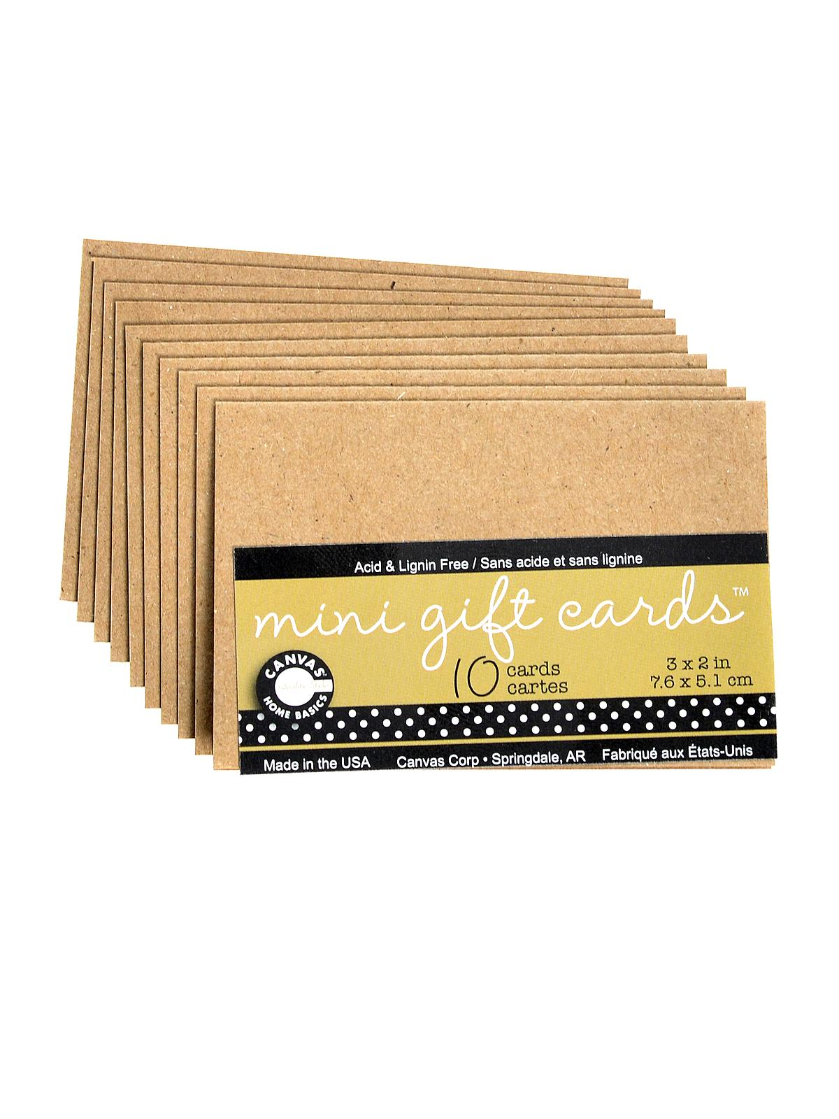Packaged Cards And Envelopes Mini Gift Cards Kraft 3 In. X 2 In. Pack Of 10