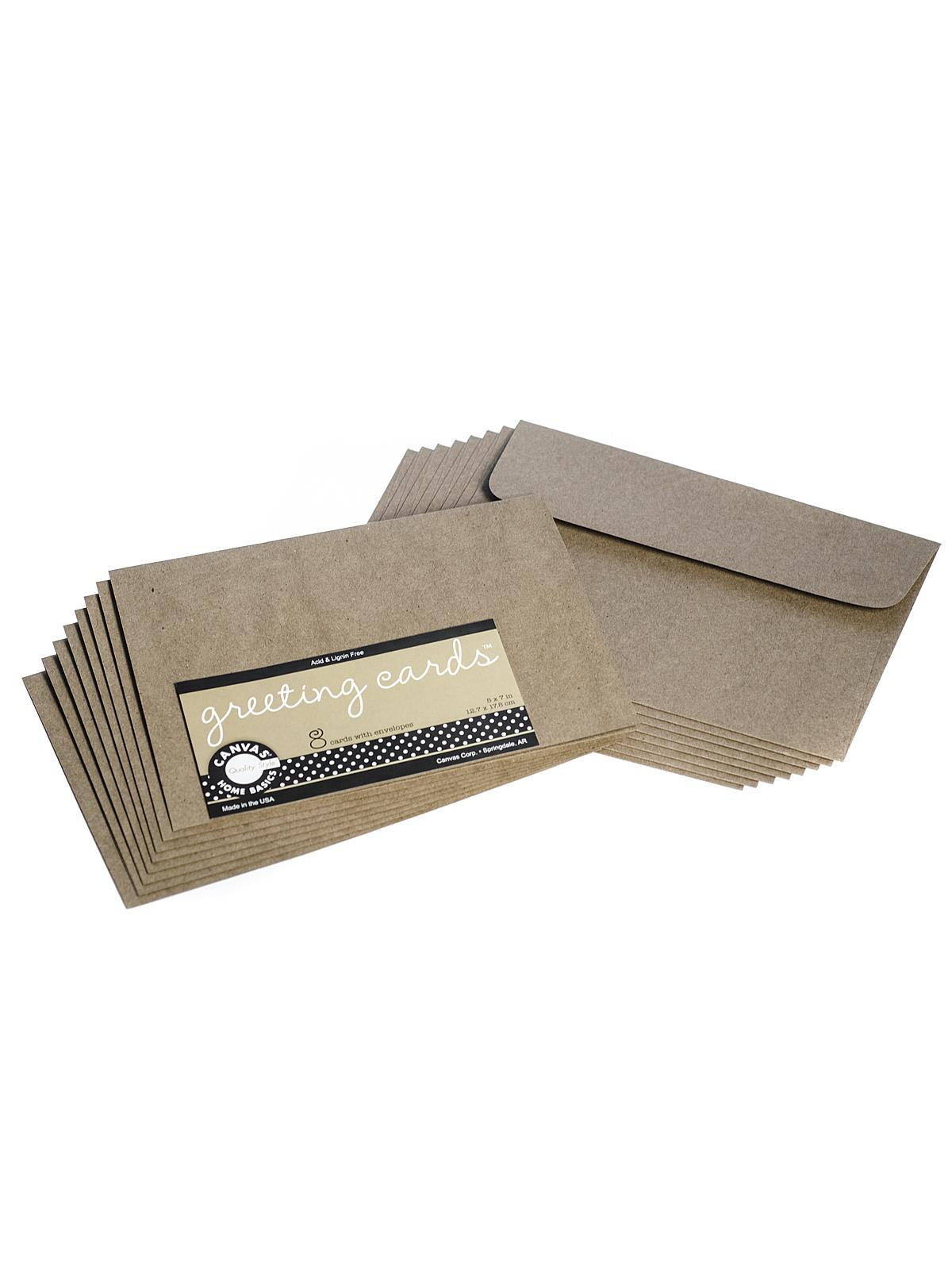 Packaged Cards And Envelopes Greeting Cards With Envelopes Kraft 5 In. X 7 In. Pack Of 8