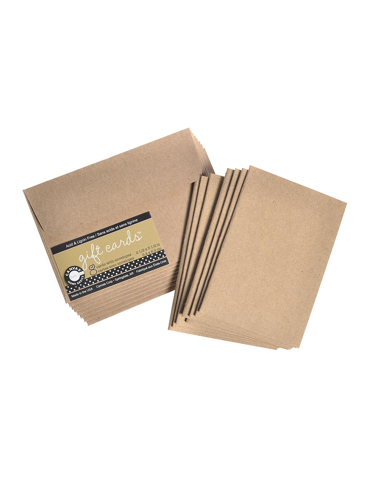 Packaged Cards And Envelopes Gift Cards With Envelopes Kraft 2 1 2 In. X 3 1 2 In. Pack Of 8
