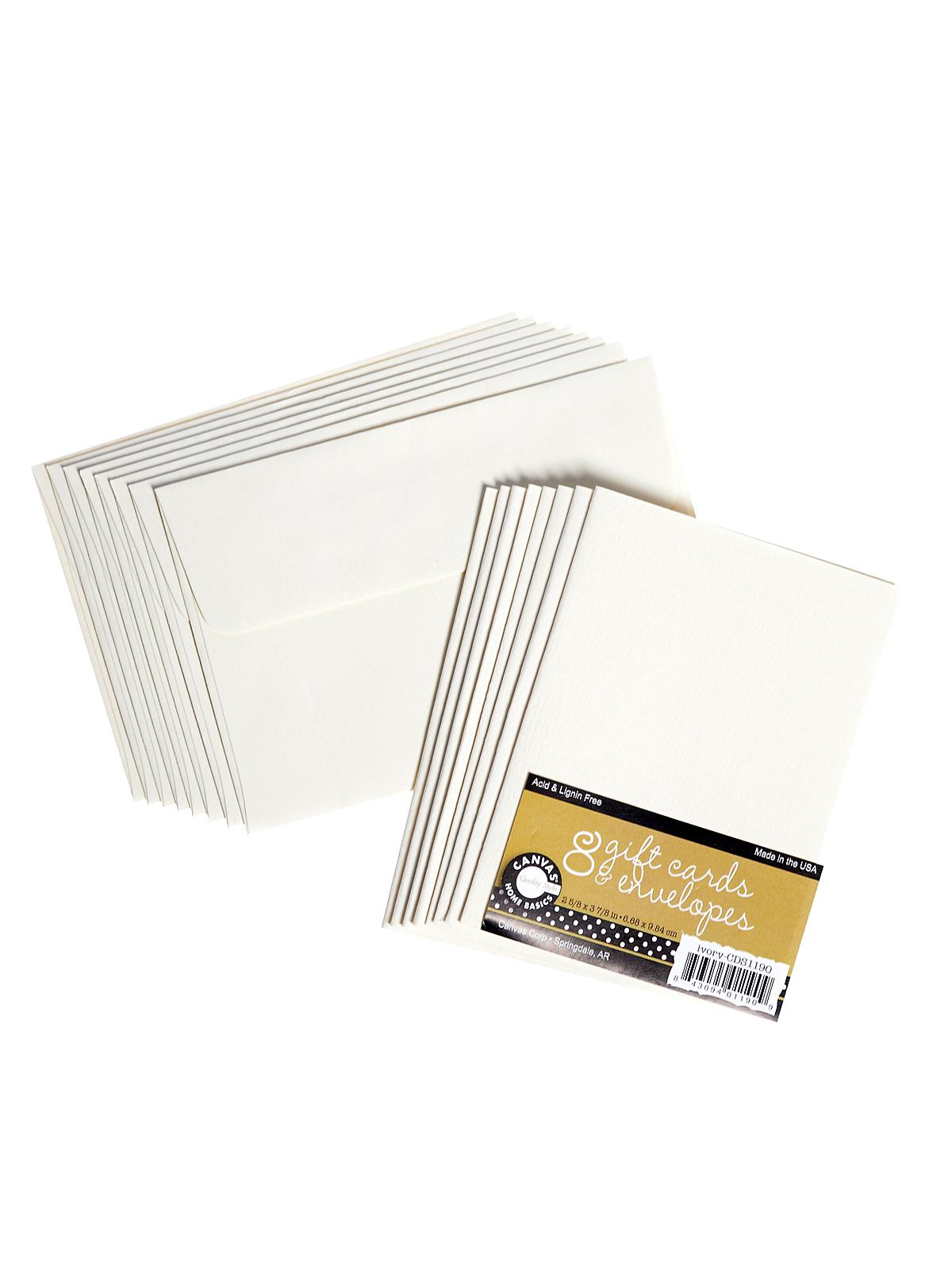 Packaged Cards And Envelopes Gift Cards With Envelopes Ivory 2 1 2 In. X 3 1 2 In. Pack Of 8