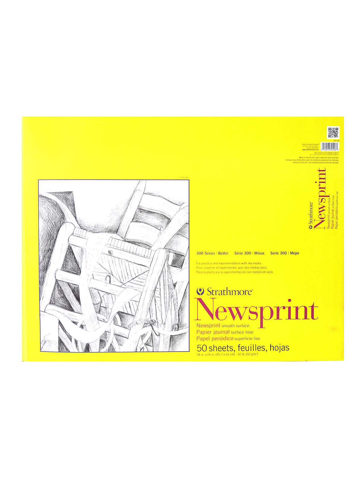 Strathmore 300 series newsprint paper pads misterart 300 series newsprint paper pads smooth 50 sheets 18 in x 24 in sciox Gallery