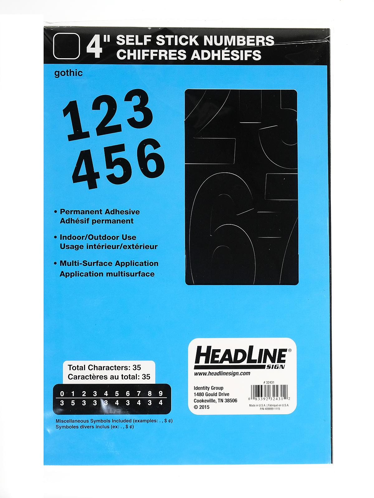 Black Headline Sign 32431 Stick-On Vinyl Numbers 4-Inch