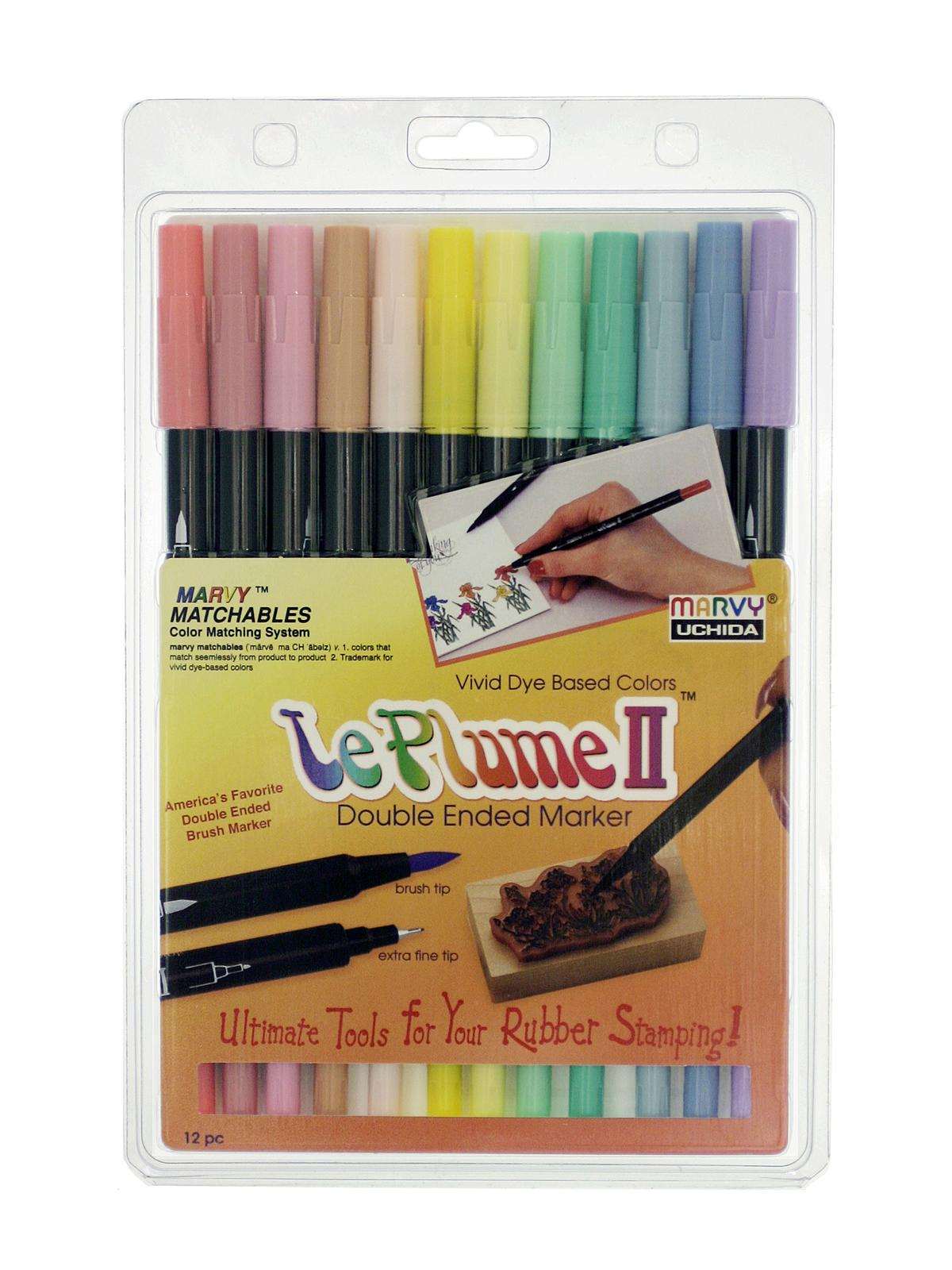 Marvy Le Plume II Double Ended Markers PRIMARY SET 1122-12A